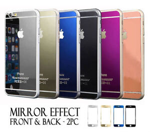 on sale 8b90d b4348 Details about iPhone 7 & 7 Plus Front and Back Colored Mirror Tempered  Glass Screen Protector