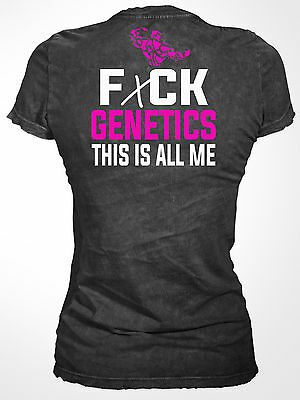 SHREDZ WOMEN'S BODYBUILDING CLOTHING T-SHIRT CROSSFIT WORKOUT F*CK GENETICS TOP