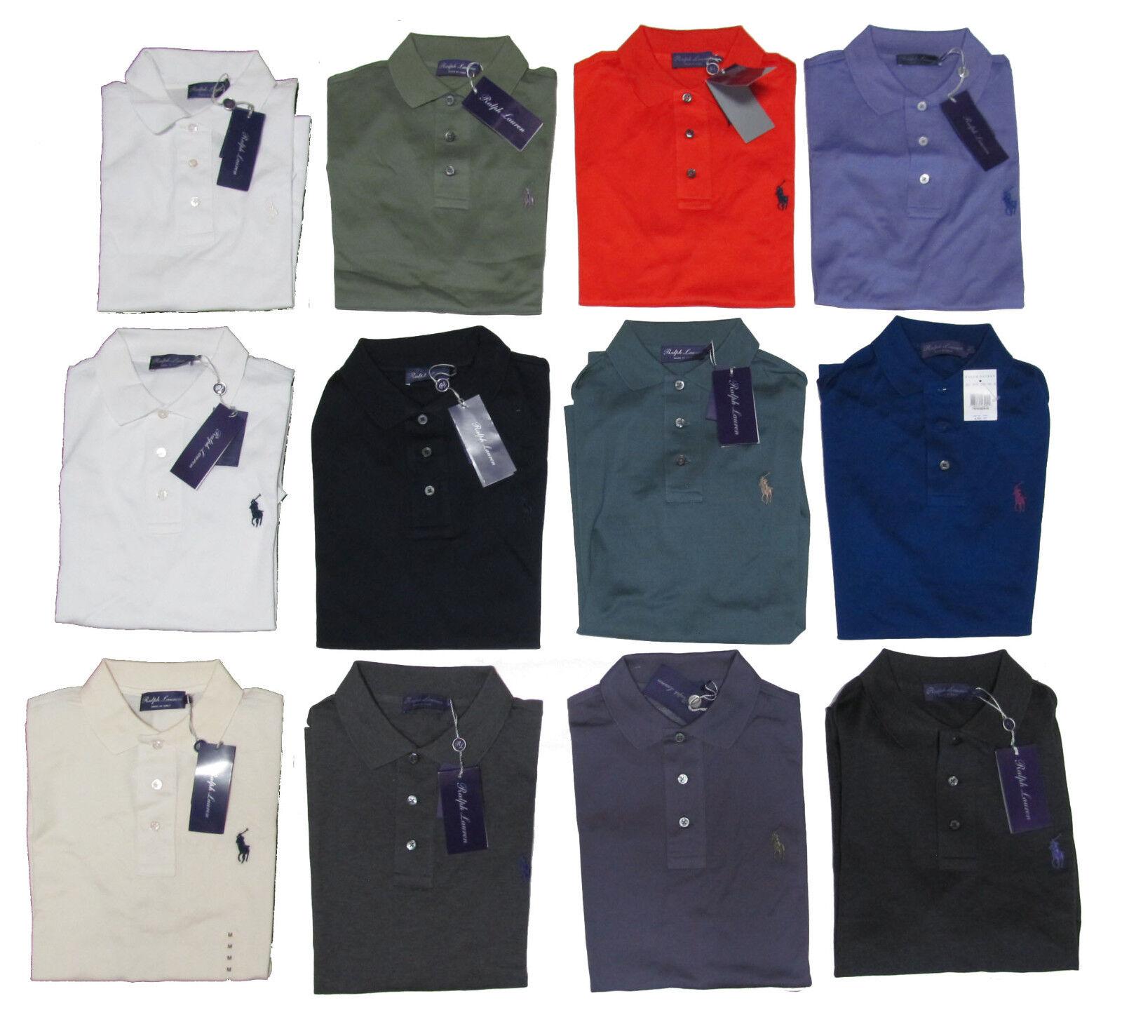 Ralph Lauren Purple Label Mens Equestrian Pony Logo Tailored Fit Polo Knit Shirt