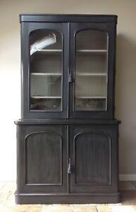 Antique-Victorian-Glazed-Bookcase-Cupboard-Dresser-Display-Cabinet-Painted-Black