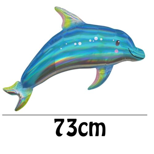 Anagram Supershape Foil Holographic Blue Dolphin Balloon Helium Or Air 73cm