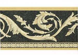 ARCHITECTURAL BLACK AND METALLIC GOLD FLOWER  WALLPAPER BORDER