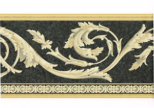 Architectural acanthus leaf crown molding scroll grey black wallpaper border 82327210539 ebay - Crown molding wallpaper ...