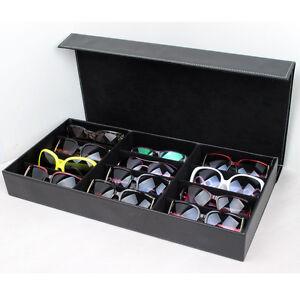 Image Is Loading 12 Slot PU Leather Sunglasses Box Glasses Grid