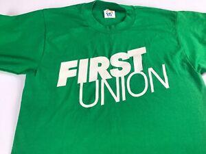 First-Union-T-Shirt-VTG-Adult-SZ-S-M-Cal-Cru-Green-White-USA-Made-Tee-Men-Women