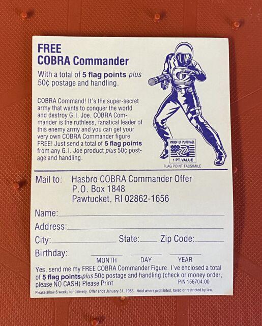 Vintage GI Joe Cobra Commander V1 Insert Offer Mail Away Promo ARAH 1982 GREAT!!