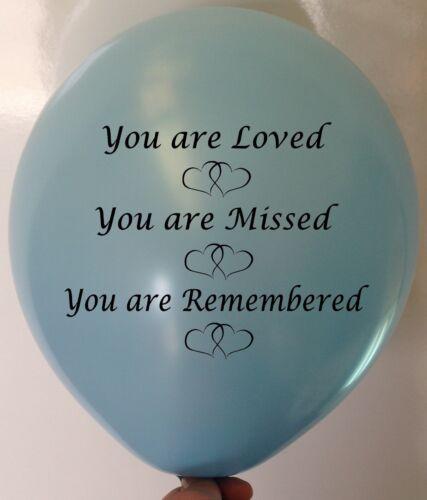 """25 Baby Blue Sky /""""Vous êtes aimé/"""" Funérailles souvenir condoléances Latex Ballons."""
