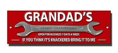 "GRANDADS SHED QUARTERS METAL SIGN SIZE 12 /""X 4/"" MAN CAVE SIGN,GARDEN SHED SIGN."