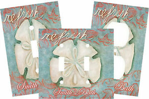 PERSONALIZED REFRESH BEACH SAND DOLLAR ART LIGHT SWITCH PLATE COVER