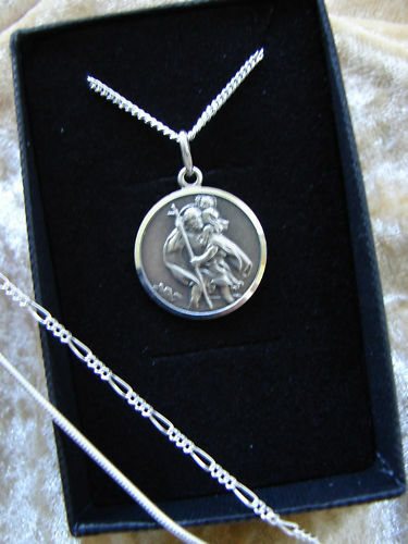 CHAIN 925 USHERS PRESENT STERLING SILVER NECKLACE MENS BOYS ST CHRISTOPHER 1.8
