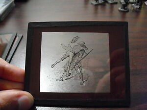 Unique-Antique-Glass-Negative-Art-Drawing-of-Man-Attacking-Man-with-Gun