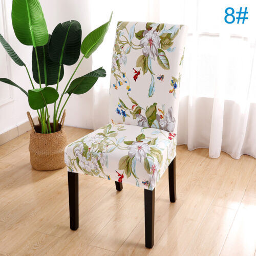 New Removable Floral Dining Room Chair Covers Wedding Stretch Seat Cover