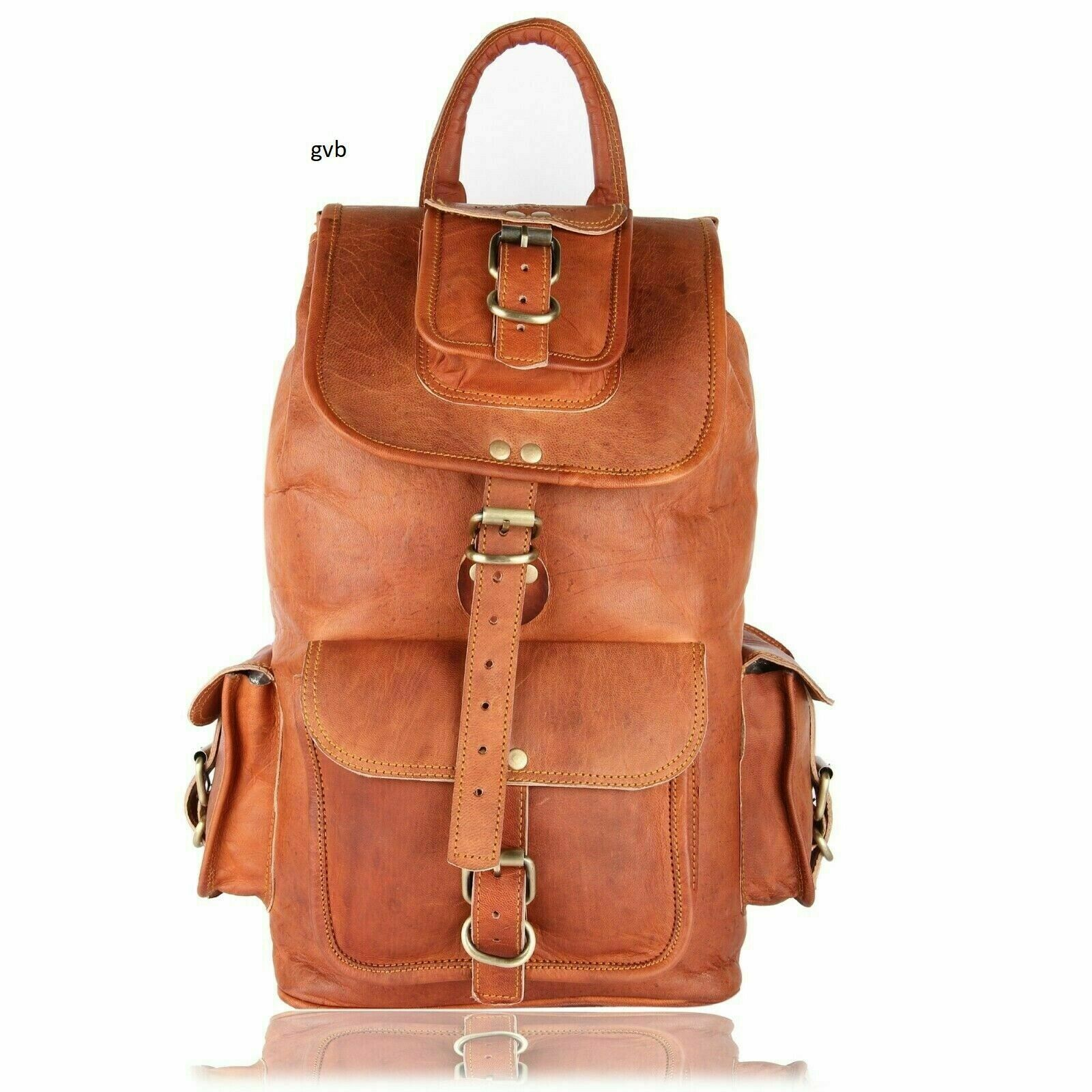 Real Goat Leather Travel Luggage Handmade Backapck Rucksack Hiking Vin... - s l1600
