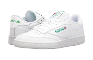 White//Green Leather Lifestyle Shoes REEBOK AR0456 CLUB C 85 Mn/'s M