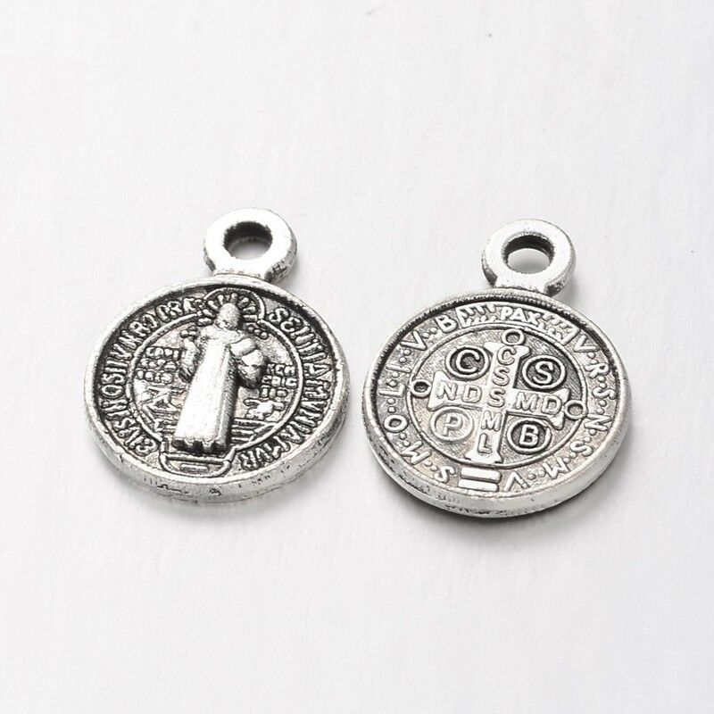 Small St Benedict Medal Pendant Flat Round Silver Alloy 13x9mm+Ring Craft R328