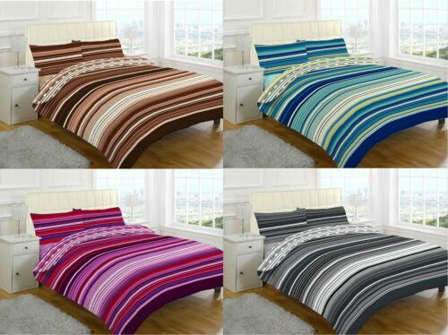 Stripes 4 Pcs Printed Duvet Cover Valance Sheet Complete Bedding Set