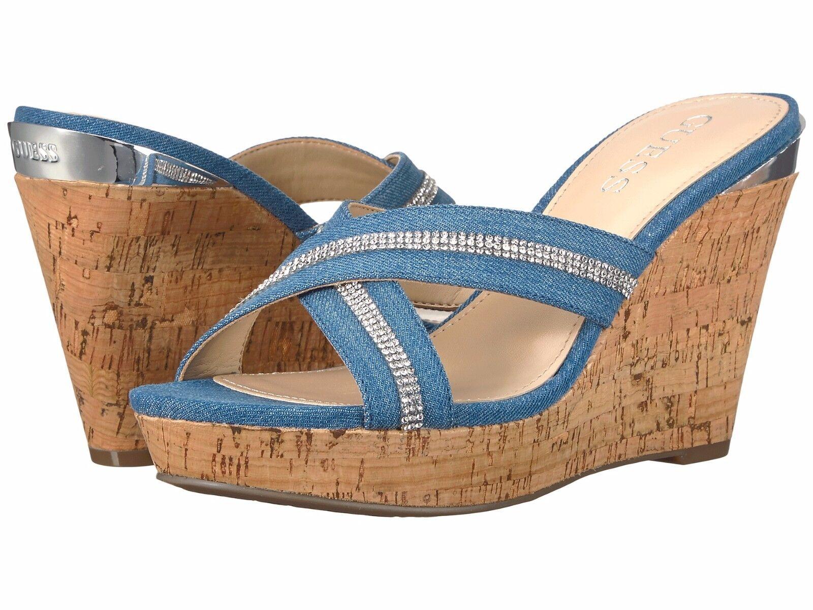 GUESS Eieny Medium Blue Criss-Cross Denim Fabric Criss-Cross Blue Rhinestone Cork Wedge Shoes 866683