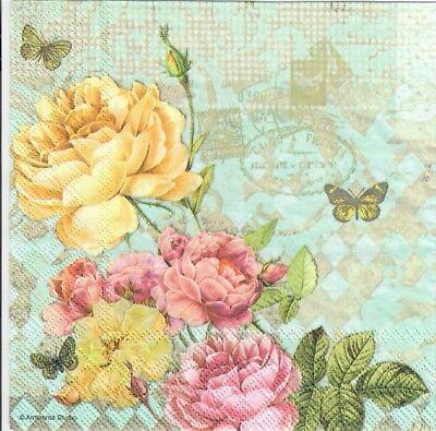 Carta Decoupage Shabby Chic.4 Tovaglioli Di Carta Singolo Decoupage Rose Vintage Shabby Chic