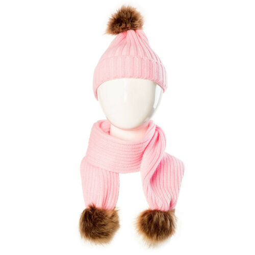 2Pcs Cap+Scarf Set Toddler Baby Boys Girls Winter Warm Knit Fur Ball Beanie Hat