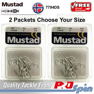 Choose Size 2 Pack Mustad Treble Hooks 7794DS Duratin 3X Strong Trebles