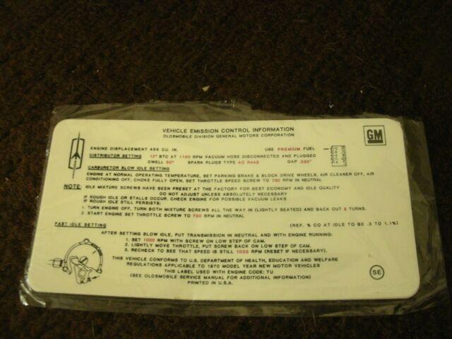 1970 OLDSMOBILE DELTA 88 98 455 4V ENG EMISSIONS DECAL
