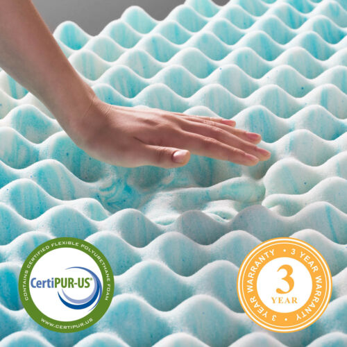 LINENSPA 2 and 3 Inch Gel Convolution Memory Foam Mattress Topper Twin Queen