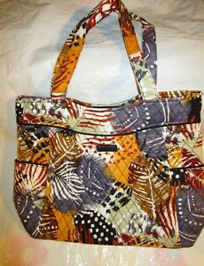 VERA-BRADLEY-PLEATED-Tote-Bag-Large-Purse-PAINTED-FEATHERS-Fall-Travel-College