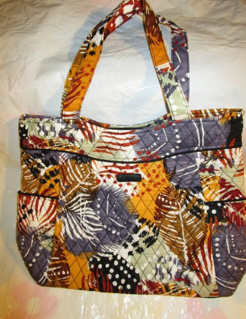 Vera Bradley Pleated Tote Bag Large Purse Painted Feathers Fall Travel College