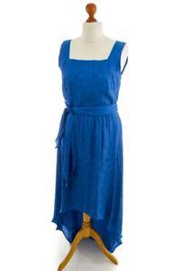 Vintage Abendkleid blau Satin Vokuhila Muster HERMANN ...