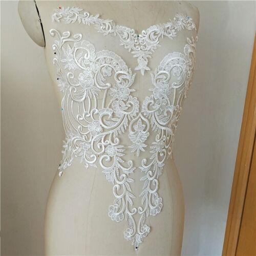 Pailletten Blumenmuster Braut Bestickt Applikation Hochzeit Kleid Motiv Lace DIY