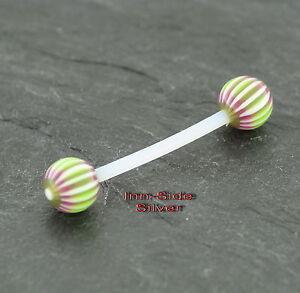 Brust Piercing Industrial Stab Metallfrei Kunststoff UV Ball/'s Ohr Zunge Intim
