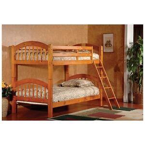 Oak Finish Bunk Beds Bunkbed Solid Wood Set Twin Kids Wooden Bedroom Furniture Ebay