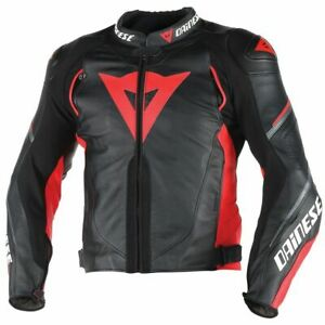 DAINESE-SUPER-SP-D-1-LEATHER-JACKET-MOTORBIKE-MOTORCYCLE-BLACK-RED