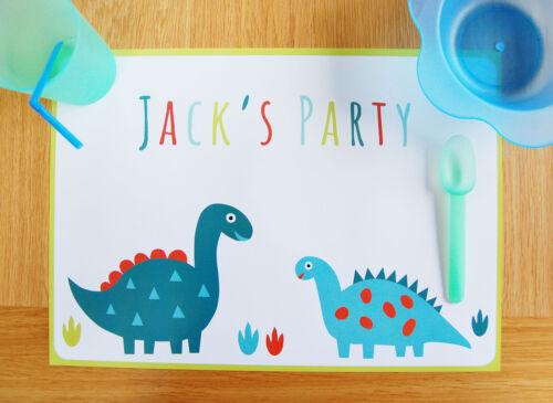 10 25 or 40 Mats Dinosaur Personalisiert Party Papiert Platzdeckchen 5