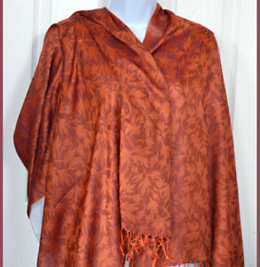 Orange-Purple-Floral-Shawl-Stole-Wrap-Rayon-and-Silk-with-fringes-from-India