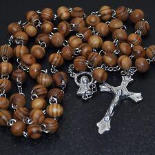 Rosenkranz Kette Maria Jesus Kreuz Anhänger Damen Herren Holzperlen Perlen Holz