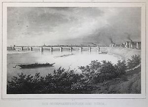 Lithografie-Die-Eisenbahnbruecke-bei-Riesa-um-1840-Arldt-Weider-Sachsen-xz