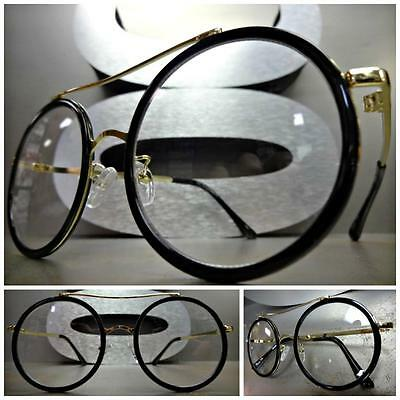 VINTAGE 60/'s RETRO Style Clear Lens CLIP ON SUN GLASSES Round Matte Black Frame