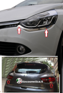 Modanature-Renault-Clio-IV-4-2-cornici-fari-4-fanali-posteriori-acciaio-cromo