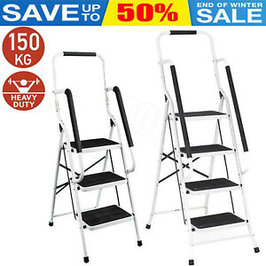 CLEARANCE 4 Step Ladder Anti-Slip Mat Folding Strong Safe DIY By Home Discount