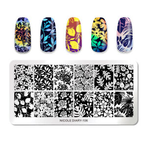 NICOLE-DIARY-Stamping-Plates-Rectangle-Flower-Pattern-Nail-Image-Stamp-Templates