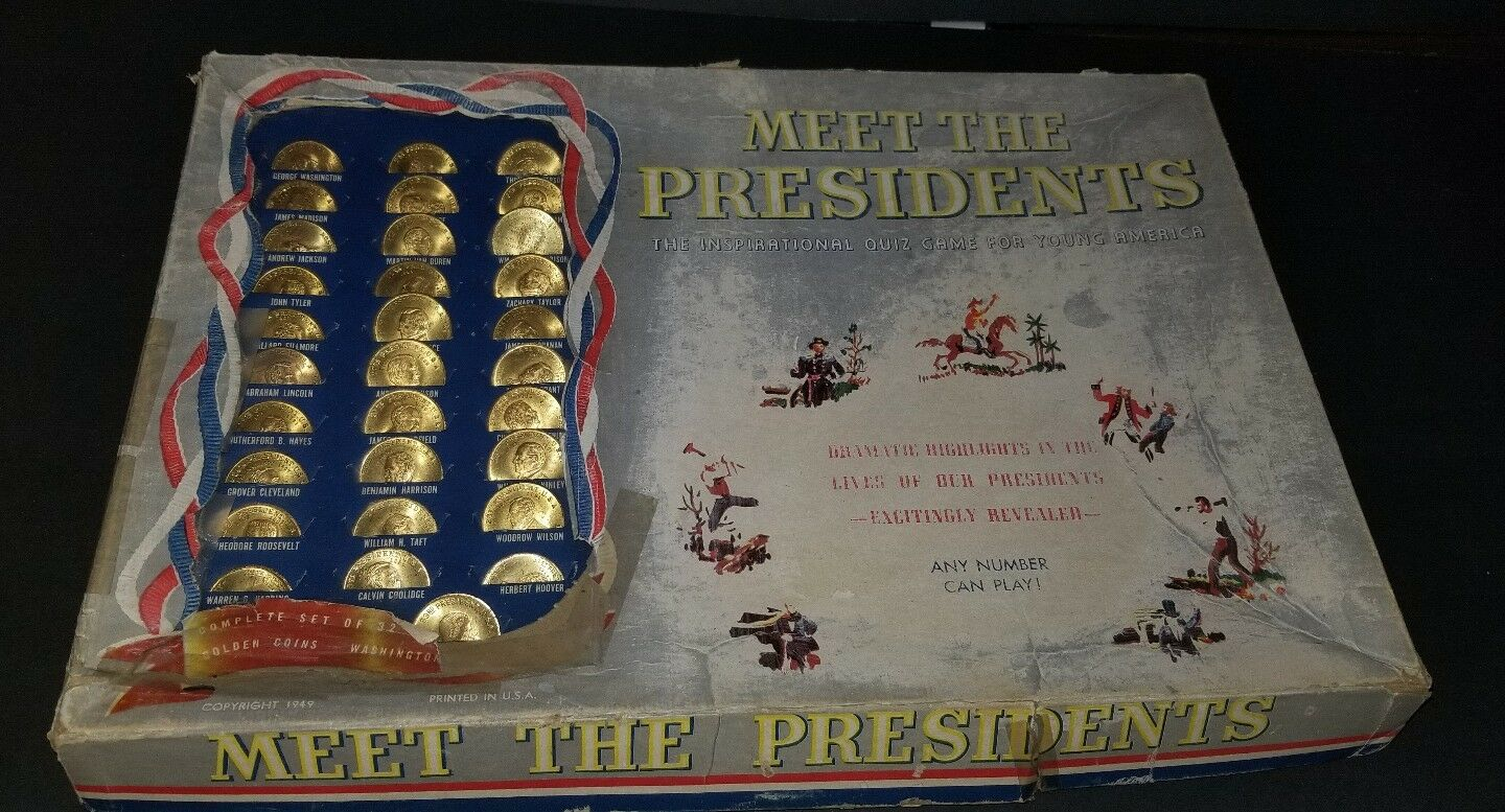 RARE Meet The Presidents Game Vintage 1949 Edition 100 % COMPLETE VERY HARD FIND