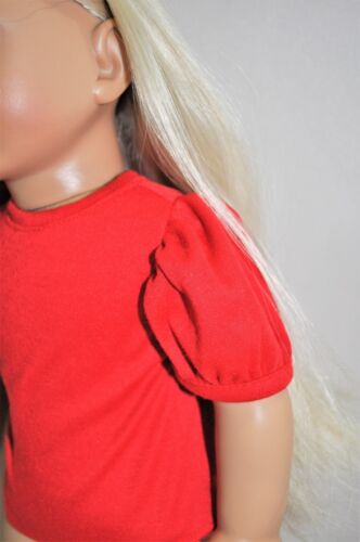 Doll Clothes I8 Inch American Girl Dolls Our Generation Red Puffy Sleeve Top
