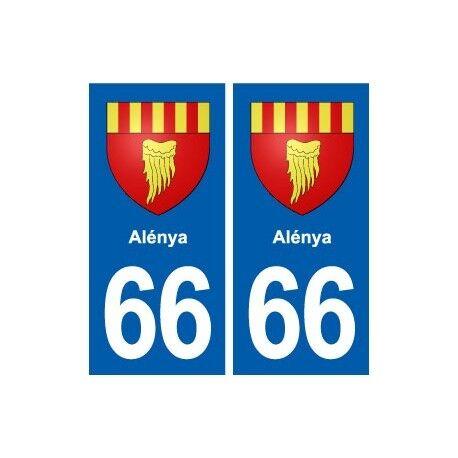 66 Alénya blason autocollant plaque stickers ville -  Angles : droits