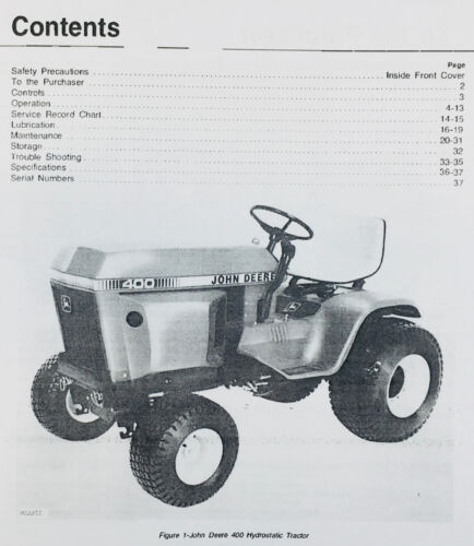 OPERATORS OWNERS MANUAL FOR JOHN DEERE 400 HYDROSTATIC LAWN GARDEN TRACTOR