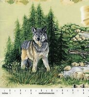 Wolf Song Scenic Wolves Woods Nature Landscape Scene Vignettes Green Fabric 1 Yd