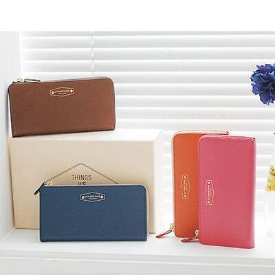 Women's Leather Clutch Credit Card Holder Zip Wallet Pouch for iphone5 New