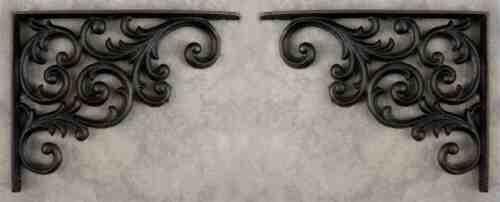 2 SCROLLING Black Cast Iron WALL BRACKETS CORNER BRACKETS PLANT HANGERS