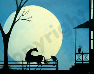 Horse-cat-funny-farm-tree-moon-art-Criswell-ACEO-Giclee-print-of-painting-gift