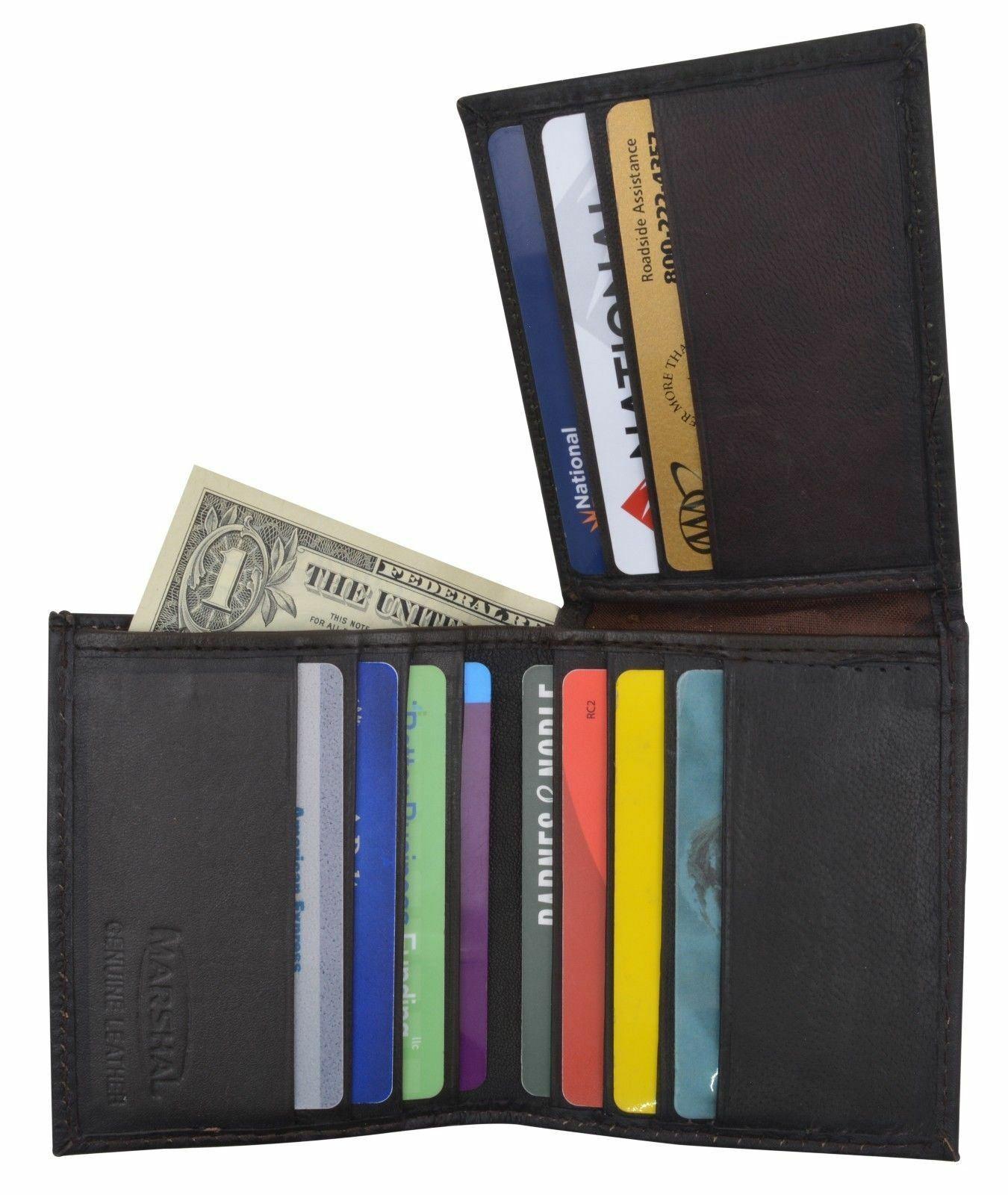 Brown Mens Bifold Lambskin Soft Leather Credit Card Money Holder L Shape Wallet
